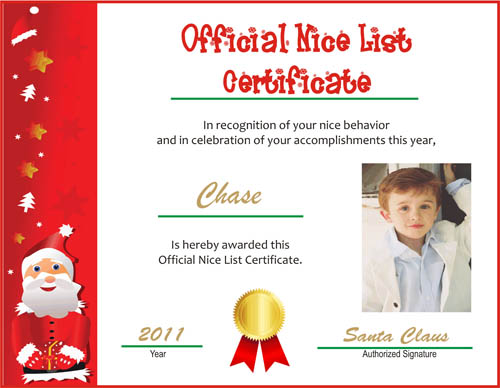 printable Santa's Nice List certificates