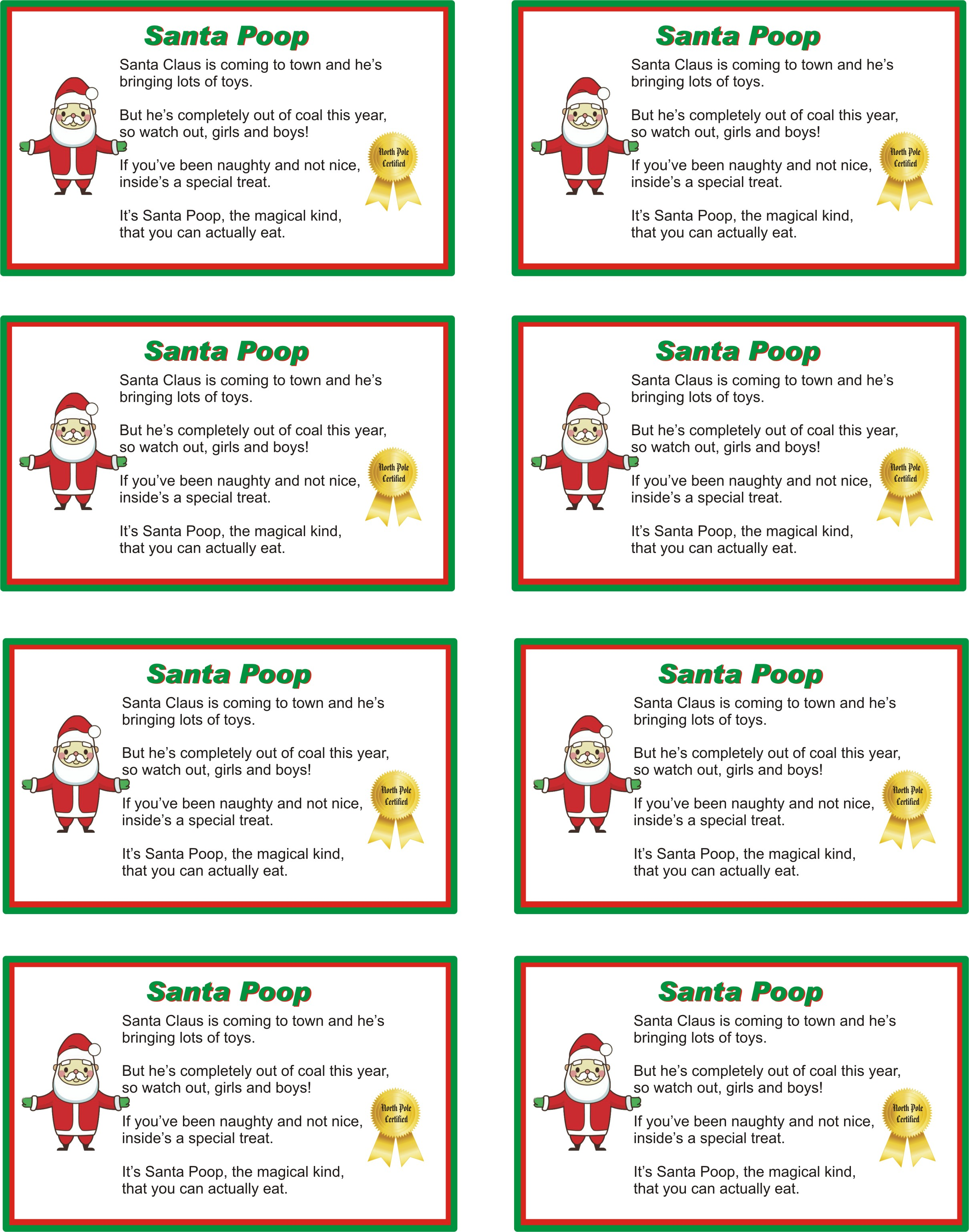 Santa Poop Poem And Recipe Letters To Kids From Santa.com - 2420x3077 ...